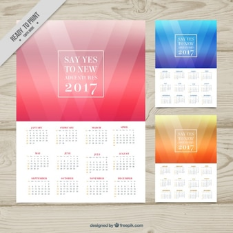 2017 calendari astratti di diverse dimensioni