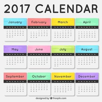 2017 calendario con mesi colorati
