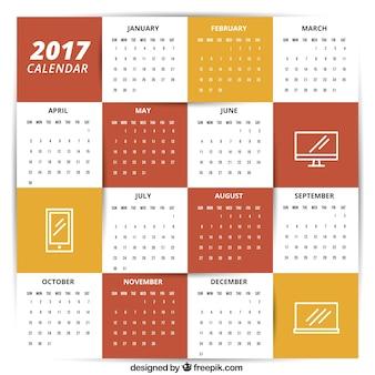 2017 modello di calendario con icone