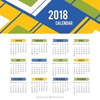 2018 del calendario di forme astratte