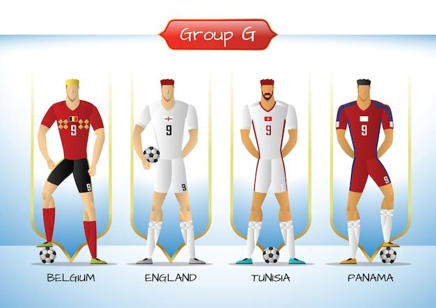 2018 gruppo di uniformi della squadra di calcio o di calcio g
