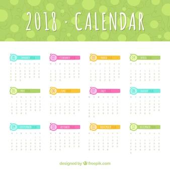 2018 modello di calendario con elementi colorati