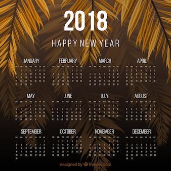 2018 modello di calendario