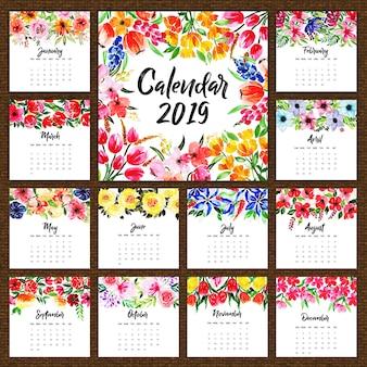 2019 acquerello calendario floreale annuale