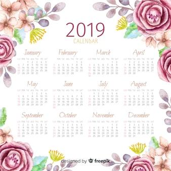 2019 acquerello calendario floreale