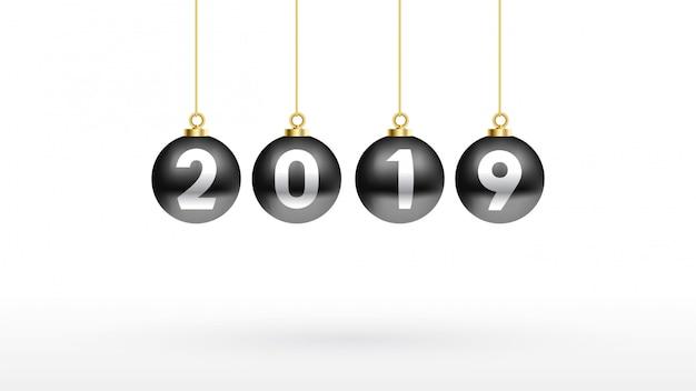 2019 buon anno con colore palla di natale nera