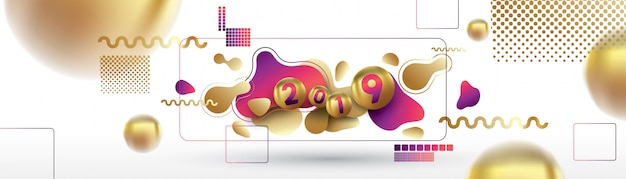 2019 buon anno con sfere liquide dinamiche liquide e palle di natale o astratti