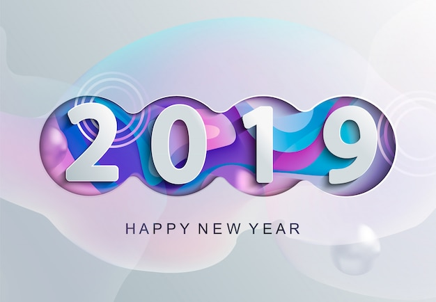 2019 carta di felice anno nuovo creativo