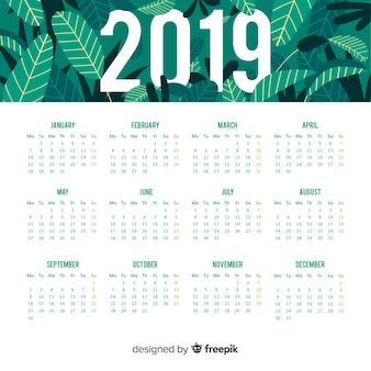 2019 design del calendario
