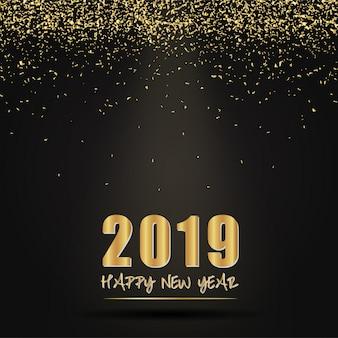 2019 design di carta felice anno nuovo.