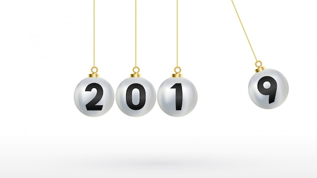 2019 felice anno nuovo con palle di natale color argento