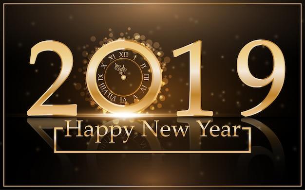 2019 felice anno nuovo con sfondo di orologio d'oro