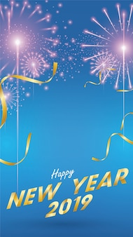 2019 felice anno nuovo sfondo per gli inviti stagionali