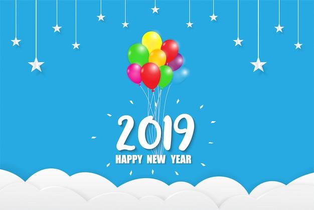2019 happy new year design di carte colorate