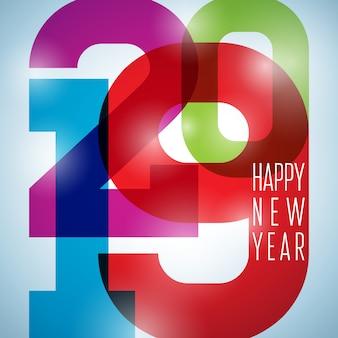 2019 illustrazione di felice anno nuovo con numero colorato