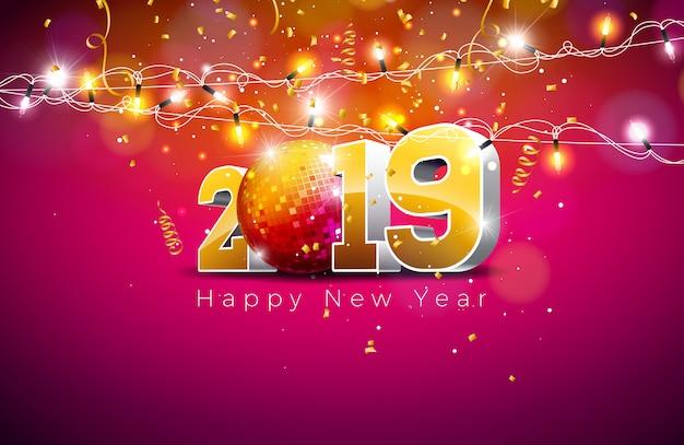 2019 illustrazione di felice anno nuovo con numero d'oro 3d