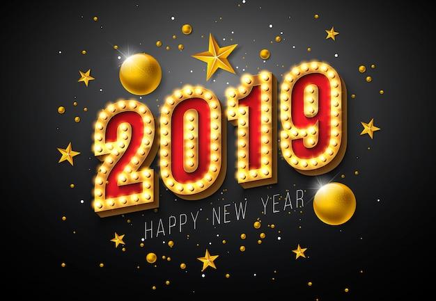 2019 illustrazione di felice anno nuovo con numero di lampadina 3d