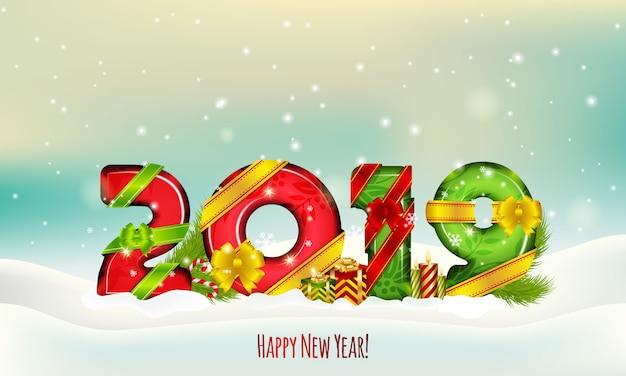 2019. illustrazione invernale. felice anno nuovo.