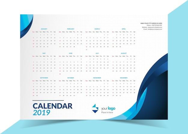 2019 modello di calendario aziendale