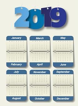 2019 modello di calendario moderno. vettore / illustrazione.