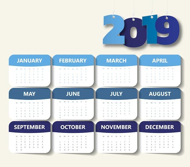 2019 modello di calendario moderno