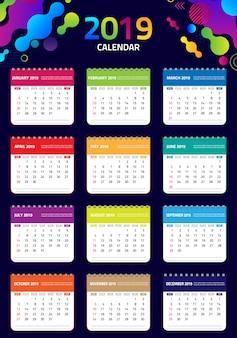 2019 modello di progettazione del calendario