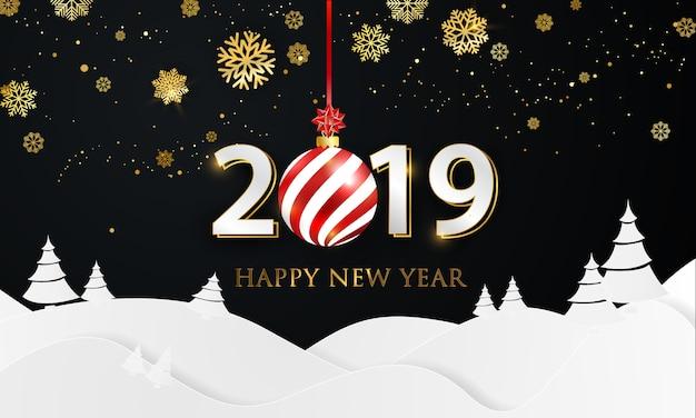 2019 poster di partito e felice anno nuovo sfondo.