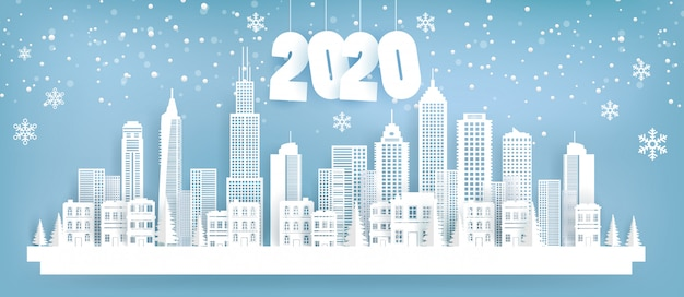 202 città paesaggistica in inverno. stile di arte di carta