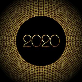 2020 anno nuovo sfondo con coriandoli glitter oro