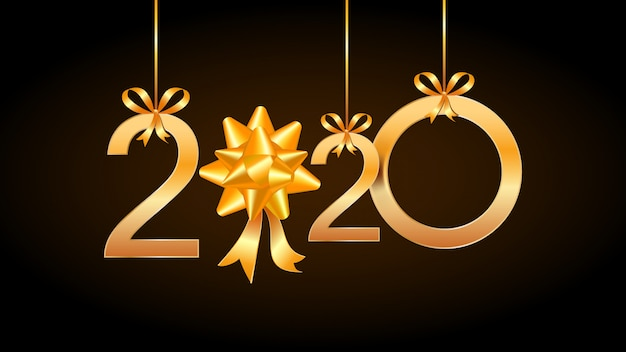 2020 carta di felice anno nuovo con numeri d'oro appesi e fiocco regalo nastro.
