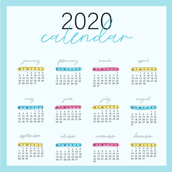 2020 design del calendario pronto per la stampa