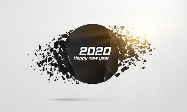 2020 felice anno nuovo. banner geometrici