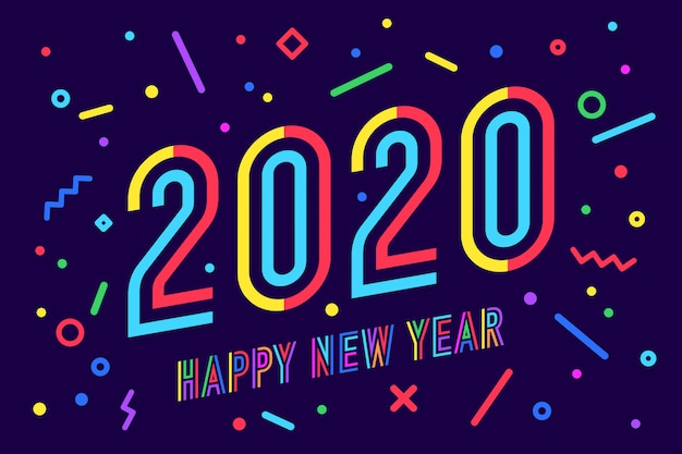2020, felice anno nuovo. cartolina d'auguri di felice anno nuovo