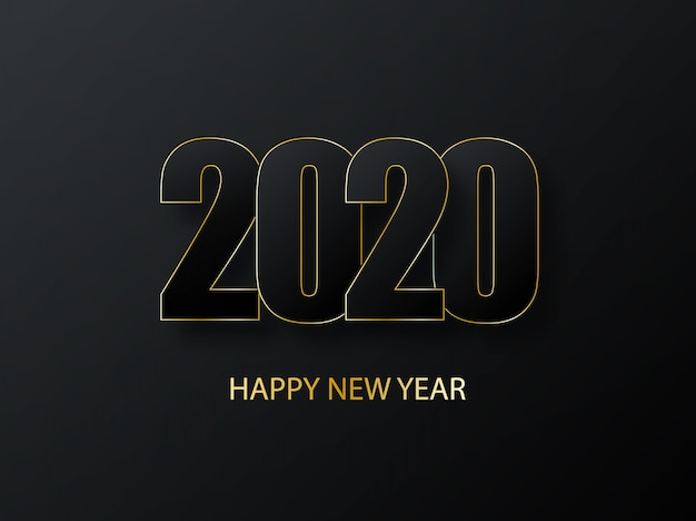 2020 felice anno nuovo sfondo. lusso scuro con auguri d'oro. copertina del diario di lavoro per il 2020 con auguri. saluti e inviti, auguri e cartoline a tema natalizio.