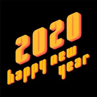 2020 felice anno nuovo testo in stile moderno per la carta di stampa
