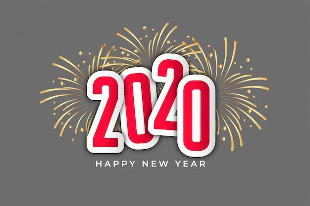 2020 fuochi d'artificio celebrazione felice anno nuovo