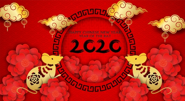 2020 happy chinese new year design con fiori e ratto