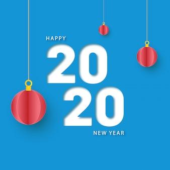 2020 happy new year e palline di carta appese origami.