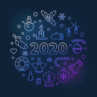 2020 illustrazione colorata circolare di natale e capodanno