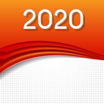 2020 illustrazione vettoriale astratta di capodanno su sfondo di onde colorate
