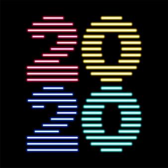 2020 modello creativo al neon luminoso felice anno nuovo
