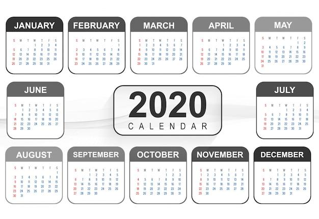 2020 modello di progettazione del calendario del nuovo anno