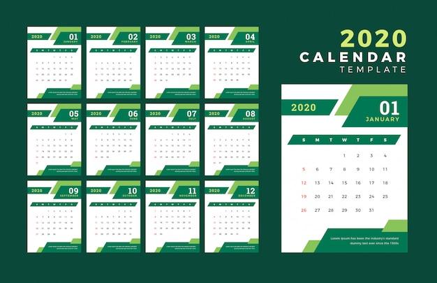 2020 modello di progettazione del calendario vettoriale