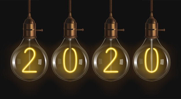 2020 numeri luminosi all'interno delle lampadine a incandescenza
