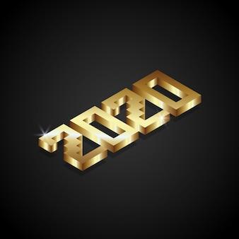 2020 numero nuovo anno isometrico 3d color oro