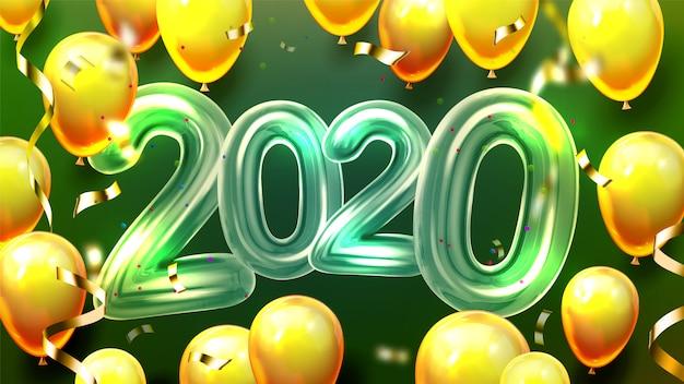 2020 palloncini di elio e coriandoli banner