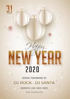 2020, poster o volantino di felice anno nuovo decorato con pallina appesa tagliata di carta e dettagli di eventi.