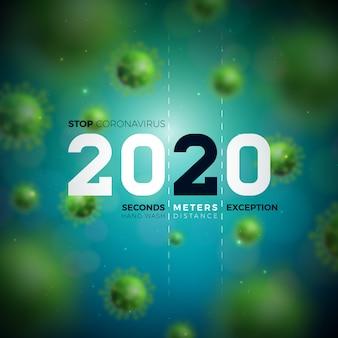 2020 stop alla progettazione di coronavirus con la caduta della cellula virale covid-19 su sfondo blu.