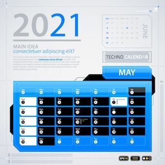 2021 modello di calendario