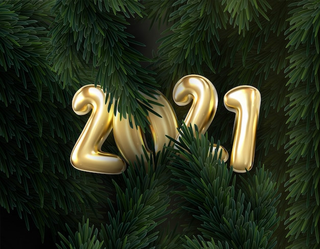 2021 numeri d'oro con riflesso e ombra su sfondo di rami di abete. carta regalo vacanza felice anno nuovo.
